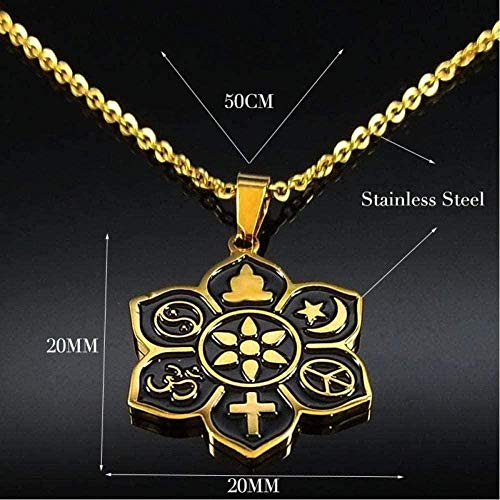Yiffshunl Collar Moda Wicca Sun Star Moon Collares de Acero Inoxidable Mujeres Collar de Cadena de Color Plateado Joyería - 50cm