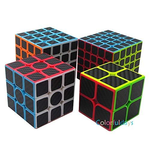 Findbetter 競技用キューブ セット 2~5階4点セット 炭素繊維ステッカー 長持ち 競技用 2x2 3x3x3 4x4x4 5x5x5 カーボンファイバーシール耐久性 知育玩具 ver.2.0 回転スムーズ ポップ防止 世界基準配色 炭素繊維2~
