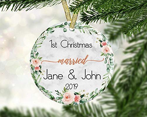 Couple Christmas Ornament, First Married Christmas Ornament, First Christmas As Mr and Mrs, Christmas Decorations Gifts (3 Pcs)