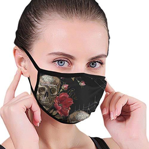 Mondmasker, doodskop, geborduurd, rode rozen, spinnenwebet The Arts Aracnido mondbescherming voor schoonheid, sanitairmasker, houdt warmte koel