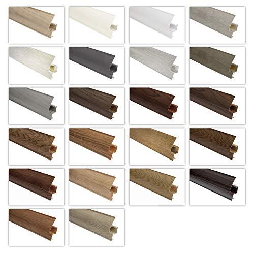 LEMAL Battiscopa in PVC 65 x 23 mm – Battiscopa con canalina per cavi – (56 metri 8606 effetto legno noce scuro)