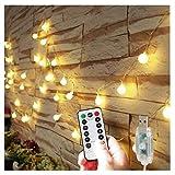 5M 50 LEDボールライト ストリングライト USB式 LED イルミネーションライト リモコン 防水 ロマンチック雰囲気 寝室 キャンプ 結婚式 庭 クリスマス ハロウィン パーティー 誕生日 広場 街路樹 (暖かい白)