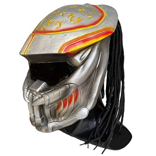 Predator Mask Cosplay Alien vs. Predator Replica Helmet Dreads Soldiers Halloween Prop Latex Silver