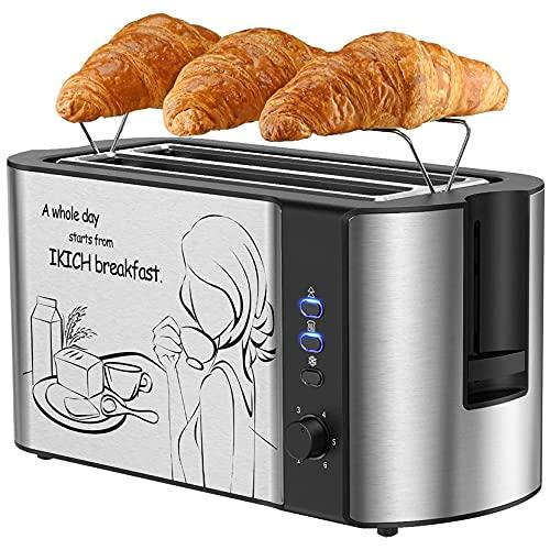 Tostapane per Toast Farciti, Tostapane 4 Fette, Tostapane con Grill, 6 Tipi di Bancarelle per Cuocere il Tuo Pane Preferito, Tostapane in Acciaio Inossidabile