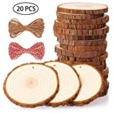 Fuyit Natural Wood Slices 20 Pcs 9-10cm Drilled Hole Unfinished Log <span class='highlight'>Wooden</span> Circles for DIY Crafts Wedding Decorations Christmas Ornaments with Free Gifts
