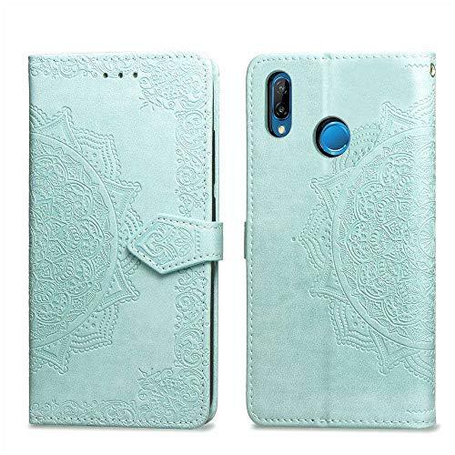 Bear Village Hülle für Huawei Nova 3, PU Lederhülle Handyhülle für Huawei Nova 3, Brieftasche Kratzfestes Magnet Handytasche mit Kartenfach, Grün