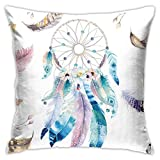 Mixcder Feather Dream Catcher Pillow Covers Sofa Home Decor Cushion Cases Pillowcases 18x18 Inch 45cm Comfortable and Fashionable