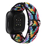 WONMILLE Adjustable Elastic Band Compatible with Fitbit Versa 3/Sense for Women Girls Fabric Nylon Sport Stretchy Strap Bracelet Wristband for Fitbit Versa 3 Smart Watch (Boho Colorful)