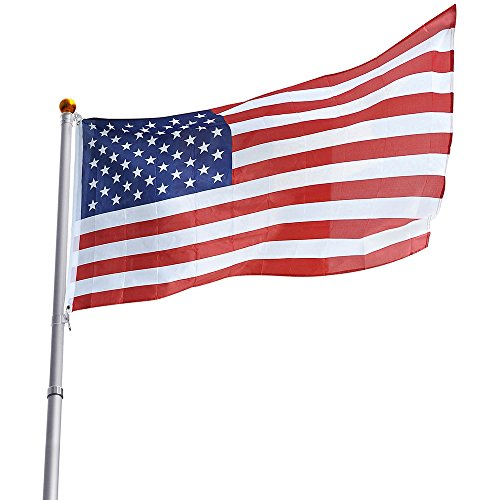 Yeshom 25ft Telescopic 16 Gauge Aluminum Flag Pole 3'x5' US Flag Ball Top Kit Telescoping Flagpole Fly 2 Flags Outdoor