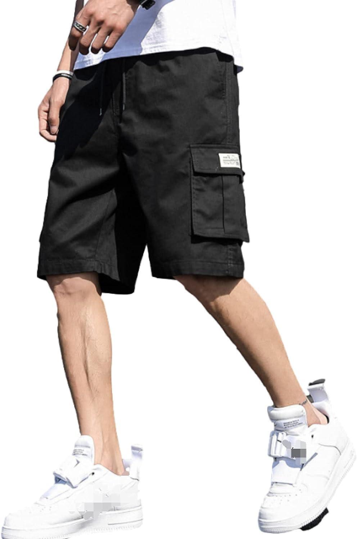 Wantess Men's Multi-Pocket Cargo Shorts Summer Outdoor Loose Comfortable Drawstring