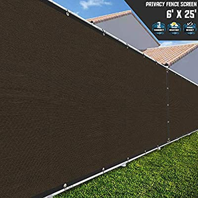 TANG Sunshades Depot 6'FTx25'FT Brown Privacy Fence Screen Temporary Windscreen Park Tennis Court School Home 150 GSM Heavy Netting Fence Cover 88% Privacy Blockage Excellent Airflow 3 Years Warranty