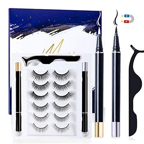 6 Paar Magnetische Wimpern, 2 pcs Magnetic Eyeliner, Falsche Wimpern Magnetisch 3D Wiederverwendbar Magnet Wimpern mit Magnetische Eyeliner Set Wasserdichtem Langlebigem