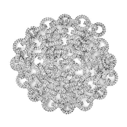 SALUTUYA Cadena de Diamantes de imitación, joyería con Cadena de Garra de Langosta, Transparente para Vestidos de Novia para Ropa para Sombreros para Vestidos(Silver 1 Size)