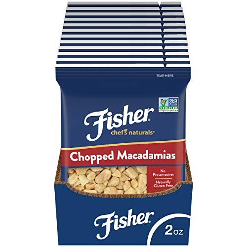 Fisher Chef's Naturals Chopped Macadamia Nuts, 2 oz (Pack of 12), Naturally Gluten Free, No Preservatives, Non-GMO