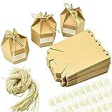 Cajas de Regalo, 50 PCS Cajas de Regalo de Papel Kraft, Cartón Hexagonal, Caja...