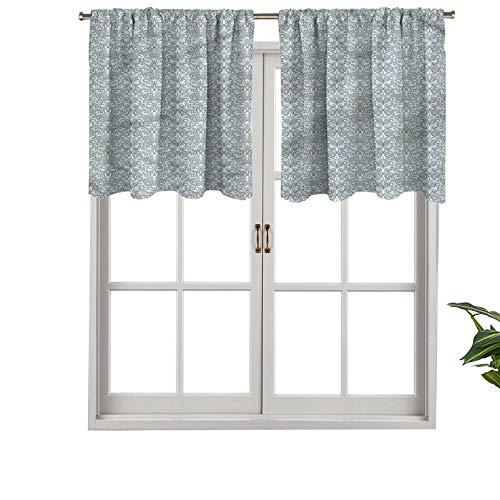 Hiiiman Cenefa recta de cortina con bolsillo para barra de alta calidad, bonito adorno floral, juego de 2, 42 x 24 pulgadas, ideal para cualquier habitación y dormitorio