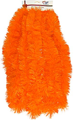 Love it Products Tinsel Garland 25 ft, Perfect for Christmas, New Year's Eve Celebration, Wedding, Birthdays, Festivities, Special Events, Decorative Accents (Orange, 7.62 Meters Long)