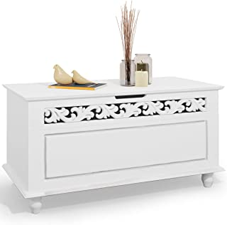 Arcón de Madera Blanco Cofre con Diseño rústico Banco de Asiento 80 x 40 x 48 cm Caja baúl Almacenamiento y decoración