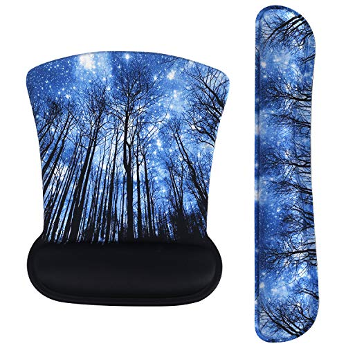 iLeadon Keyboard Wrist Rest Pad and Mouse Wrist Rest Support Mouse Pad Set, Non Slip Rubber Base Wrist Support with Ergonomic Raised Memory Foam for Easy Typing & Pain Relief, Starry Forest
