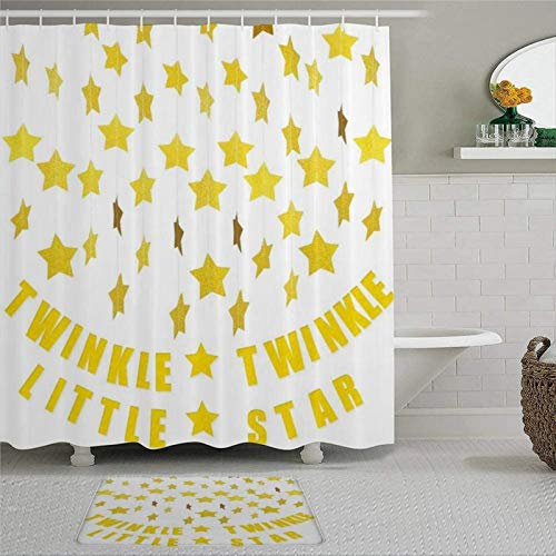 BYRON HOYLE Star Garland Twinkle Little Star Banner Decoration Birthday Party Christmas Weddings Shower Curtain with Rings Polyester Fabric Shower Curtains with hooks Bath Bathroom Decor 72x72 inch
