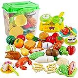 deAO Juego de Comida, Frutas y Verduras para Cortar Conjunto Infantil de Imitación Accesorios de Cocina de Juguete Actividad Educativa 42 Piezas y Caja de Almacenaje