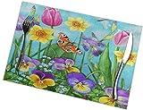 Asekngvo - Set di 6 tovagliette con fiori primaverili e farfalle, lavabili, antiscivolo, antimacchia, antiscivolo, 30,5 x 45,5 cm, per cucina, sala da pranzo e casa