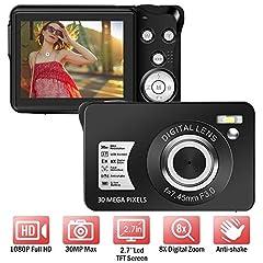 Appareil photo numérique 1080P 30 mégapixels Appareil photo full HD Caméra photo rechargeable 2,7 pouces avec zoom numérique 8 compartiments compact pour les débutants