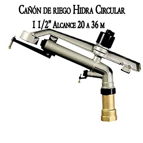 Cañón de riego largo alcance Hidra 1 1/2'. Ángulo de riego 360º círculo completo. Alcance 20 a 36 mts   Presión de trabajo 2 a 6 bar. Conexión 1 1/2' hembra. Aspersor agricola fabricado en metal