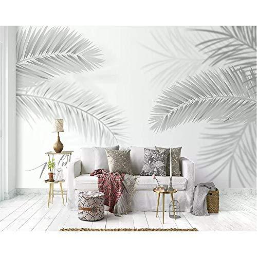 Mural Wallpaper Grey Mural Wallpaper Nordic Minimalist Plant Coconut Leaf Palm Tree Living Room Bedroom Tv Background 3D Wallpaper-280X200CM