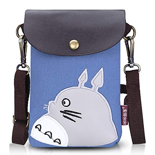 Abaddon Canvas Small Cute Crossbody Cell Wallet Bag Phone Purse with Shoulder Strap (totoro)
