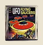 UFO Comic Book Cigarette Case Business Card ID Holder Wallet Flying Saucers Retro Sci Fi Alien Extraterrestrial