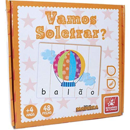 Brinquedo Pedagógico Madeira Vamos Soletrar Brincadeira de Criança