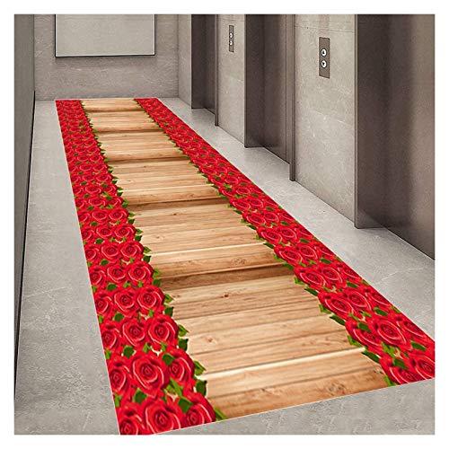 TTRY&ZHANG Alfombra de alfombra alfombra para pasillo estilo moderno sin deslizamiento sala de hall de resbalón alfombras estrechas rosa flor carretera bienvenida a la estera de la puerta grande, lava