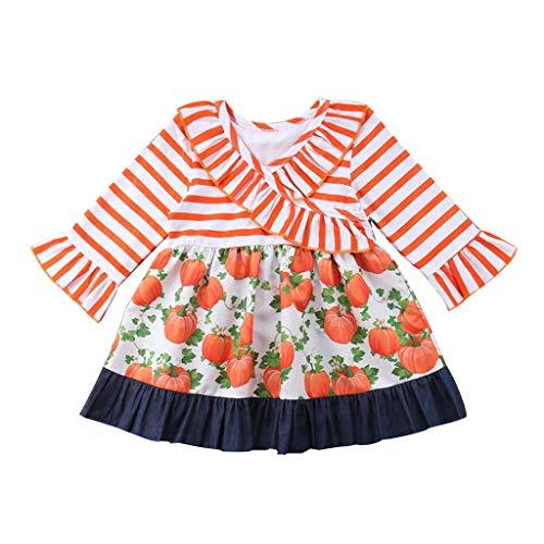 Moneycom❤ Vestido para bebé o niñas, estampado de calabaza, Halloween, ropa de salud, fiesta, retro, cuentos de hadas, color naranja naranja 18-24 meses