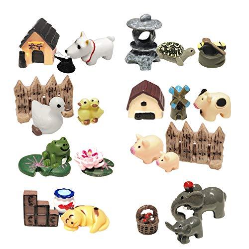 ZJW 24 STK. Miniatur Garten Ornamente Zubehör, Fairy Garden Tiere für Puppenhaus Blumentopf, Heimtextilien, Bonsai Handwerk, Micro Landschaft, DIY Dekor Set