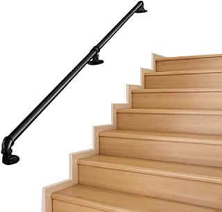 Handrail - Complete Kit. Black Metal Wrought Iron with Wall Brackets Handrails for Staircases Exterior Outdoor Steps Or Indoor Stairs Banister Railing Rail