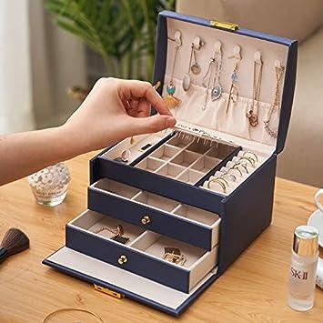 Coffre /à Bijoux verrouillable Bo/îte de Voyage Portable Colliers Organisateur /à Bijoux avec 2 Tiroirs Bleu Bagues COXTNBIO Bo/îte /à Bijoux Doublure en Velours pour Bracelets Boucles doreilles