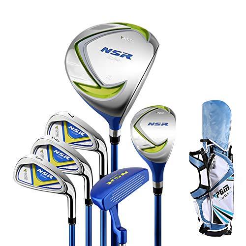 Kofull Junior Golfschläger-Set, 6 Golf-Putter-Set & Golfschläger-Ständer & Kopfbedeckung für Kinder 135 cm – 155 cm 9–11 Jahre