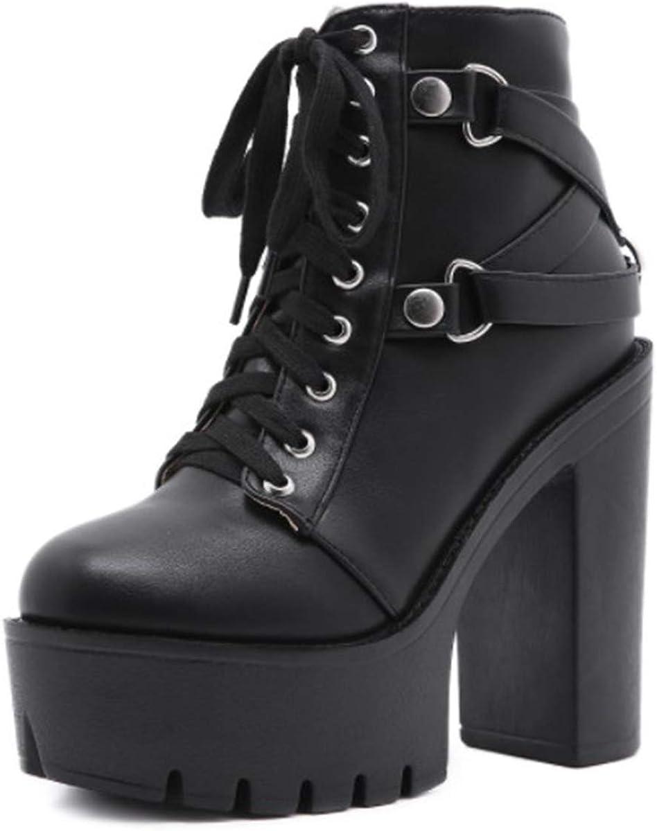 heelchic Women's Sexy In a popularity Chunky Block Heeled La High trend rank Platform Boots
