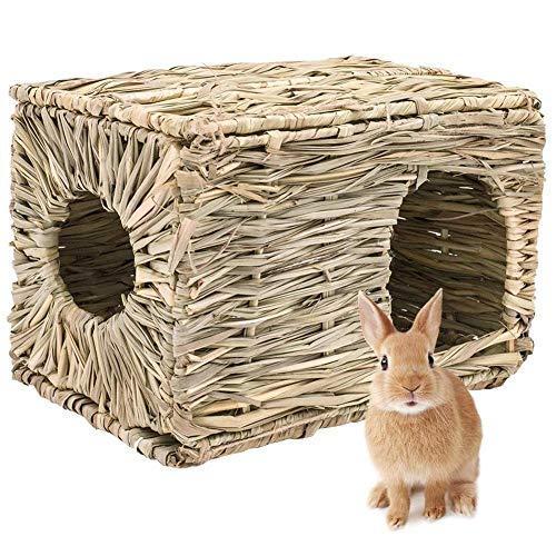 WeiCYN Conejo Plegable Hierba Tejida Pet Hamster Conejillo de Indias de la Jaula nidos Casa Chew Toy