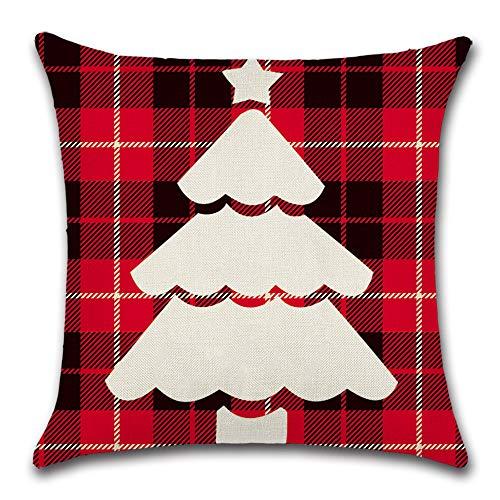 JHBMX Almohada de Navidad cojín Silueta a Cuadros Tema Ciervo Oso cojín árbol de Navidad 45 * 45cm G