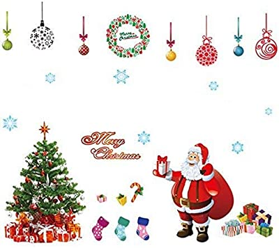 Gadgets wrap Festival Christmas Glass Wall Decoration Extra Large Removable Wall Sticker Christmas Tree Gifts Socks Santa Claus Print Wall Decals (Multi-11478333)