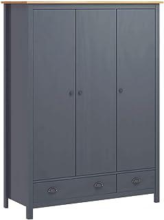 vidaXL Pin Solide Garde-Robe à 3 Portes Armoire à Vêtements Armoire de Rangement Organisateur Chambre à Coucher Maison Int...