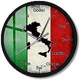CXSMKP Orologio da Parete con Luce Notturna attivata dal Suono Lingua Italiana Bandiera dell'Italia con Mappa Orologio da Parete Intelligente Patriottico Decorazioni per la casa 12 Pollici