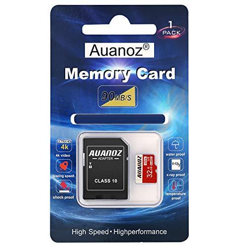 Scheda Di Memoria TF Da 32 GB, Auanoz Ultra Class 10 Scheda Di Alta Velocità Memoria per Telefono, Tablet e PC - Con Adattatore. (Rosso-32gb)