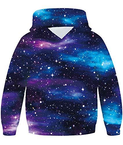 Loveternal Galaxy Pullover für Jungen Mädchen 3D Druck Hoodie Galaxis Kapuzenpullover 5-6 Jahre Langarm Casual Sweatshirt für Kinder Teenager M