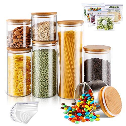 Tarros de cristal con tapas de bambú, 7 unidades, de vidrio de borosilicato, herméticos, recipientes de almacenamiento para cocina para enlatar cereales, pastas, especias, masthome