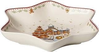 Villeroy & Boch Winter Bakery Delight Bol estrella mediano, Pueblo de pan de jengibre, bol para galletas, Premium Porcelain, rojo, varios colores, 24,5 cm