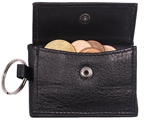 BelleBay Geldbörse Schlüsselbörse | Leder Schlüsseletui - Portemonnaie | Mini Portemonnaie mit Münzfach | Schmale Slim Schlüssel-Brieftasche | Portmonee - Schlüsselanhänger (Schwarz)