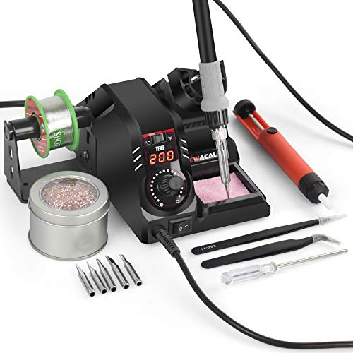 Lötstation 60W Lötkolben Set - NEWACALOX 200°C ~ 480°C Einstellbare Temperatur Lötkolbenstation- mit LED-Anzeige, Schlaffunktion, C/F-Schalter, 5 zusätzlichen Lötspitzen und Lötspitzenreiniger